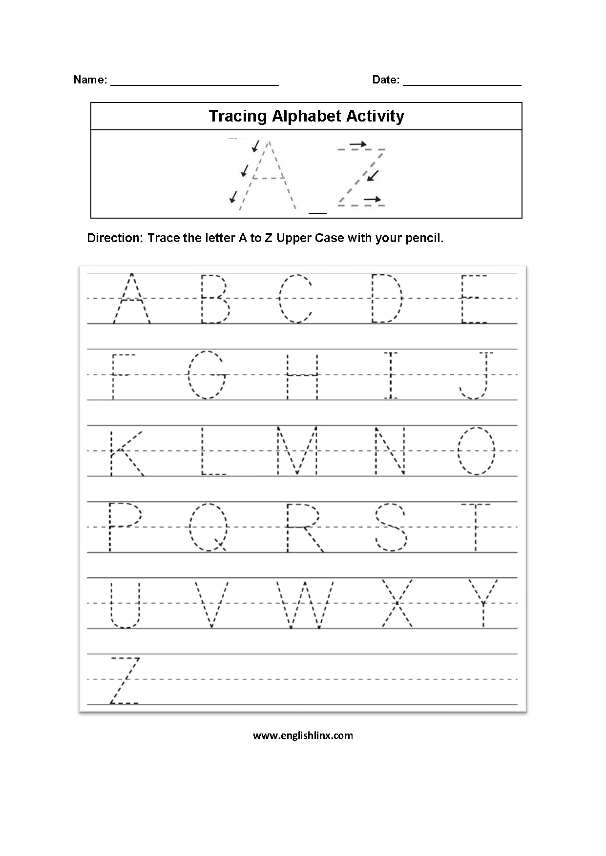 Alphabet Worksheets | Tracing Alphabet Worksheets intended for Alphabet Worksheets A To Z