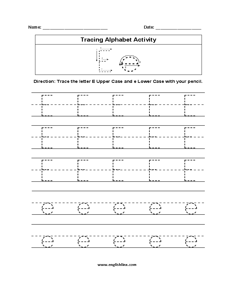 Alphabet Worksheets | Tracing Alphabet Worksheets with Alphabet Tracing Worksheets E