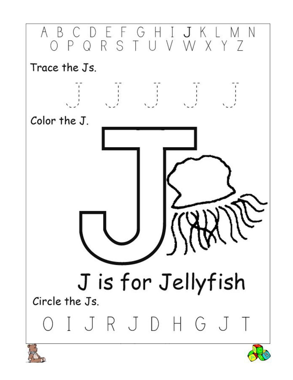 Alphabet Worksheetstrace And Print Letter J. Practice pertaining to Letter J Worksheets Sparklebox