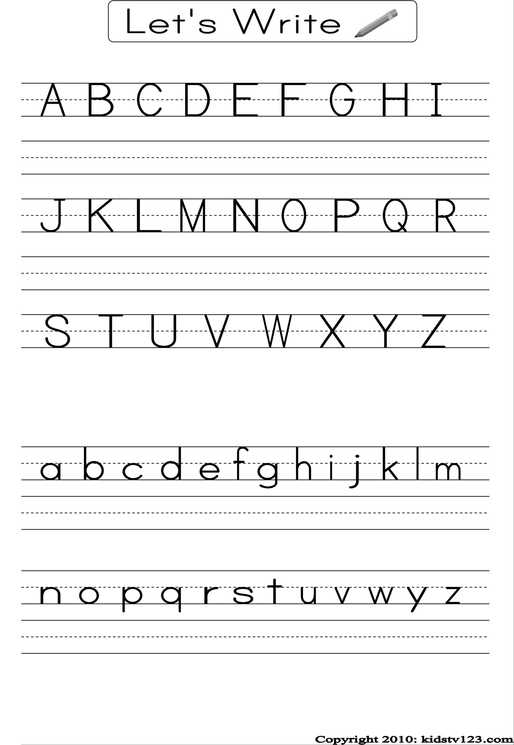 Alphabet Writing Practice Sheet | Alphabet Writing Practice for Alphabet Worksheets For Preschoolers Printable