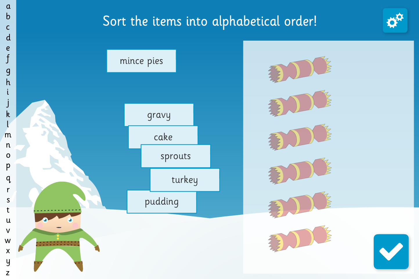 Alphabetical Lists Interactive Activity - Christmas Ks1 intended for Alphabet Ordering Worksheets Ks1