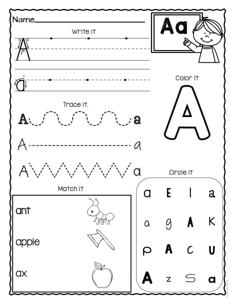 And An Worksheets For Preschool Patinig Kindergarten Letter Intended For Letter A Worksheets For Preschool
