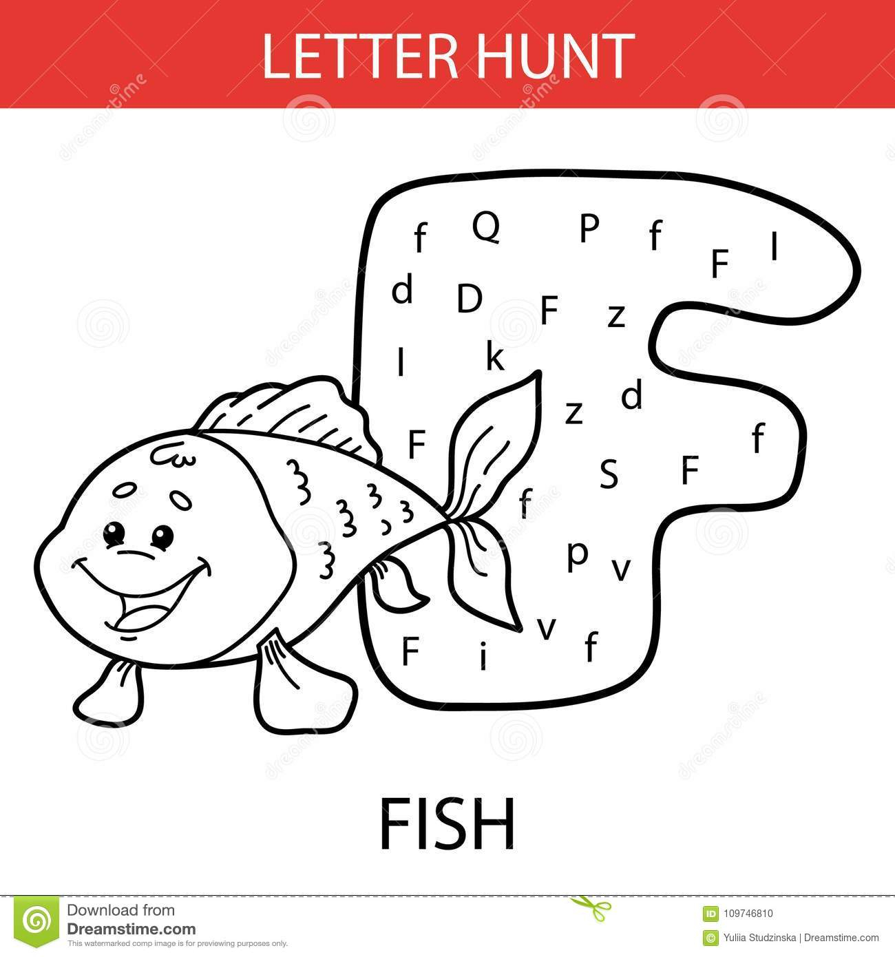 Animal Letter Hunt Fish Stock Vector. Illustration Of with Alphabet Hunt Worksheets