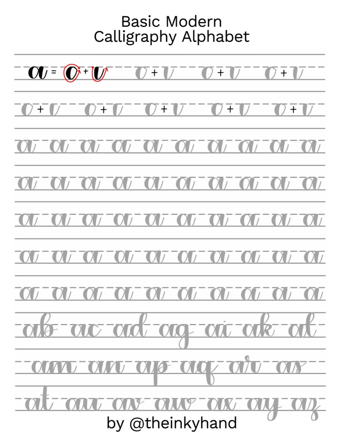 Basic Modern Calligraphy Practice Sheets@theinkyhand in Alphabet Practice Worksheets Pdf