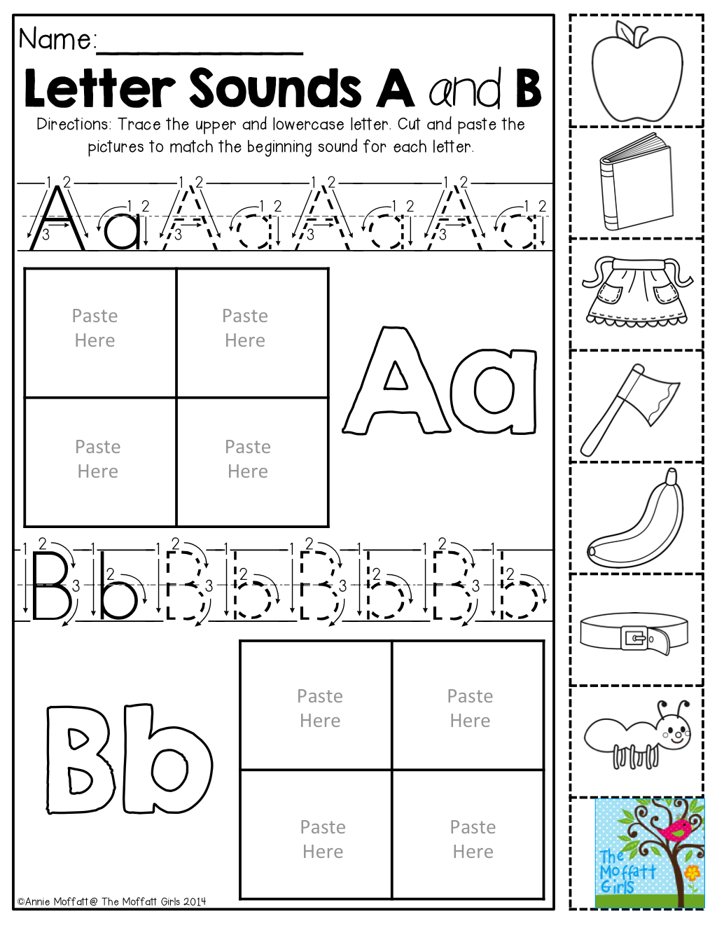 Beginning Sounds- Cut And Match The Beginning Sounds. Trace with Alphabet Worksheets Cut And Paste