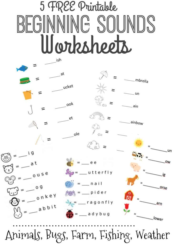 Beginning Sounds Letter Worksheets For Early Learners Regarding Letter 5 Worksheets