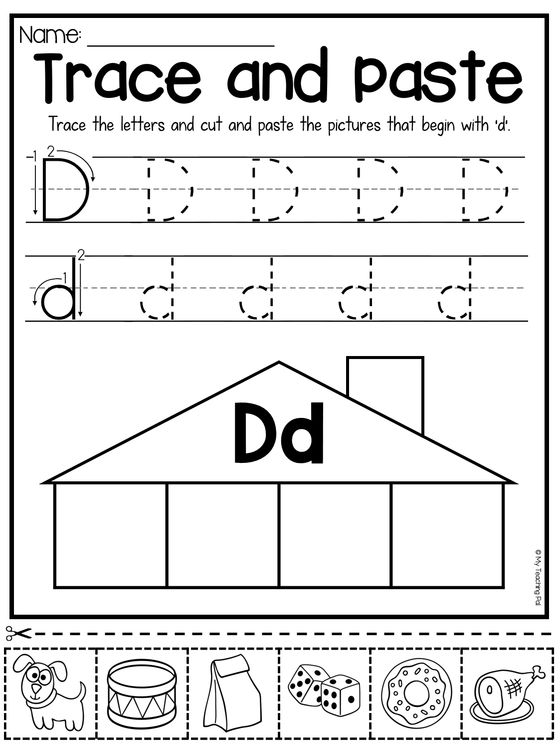 Beginning Sounds Worksheets - Trace And Paste | Beginning throughout D Letter Worksheets