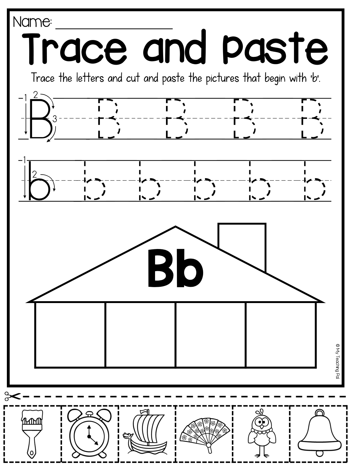 Beginning Sounds Worksheets - Trace And Paste | Beginning with Letter B Worksheets For First Grade