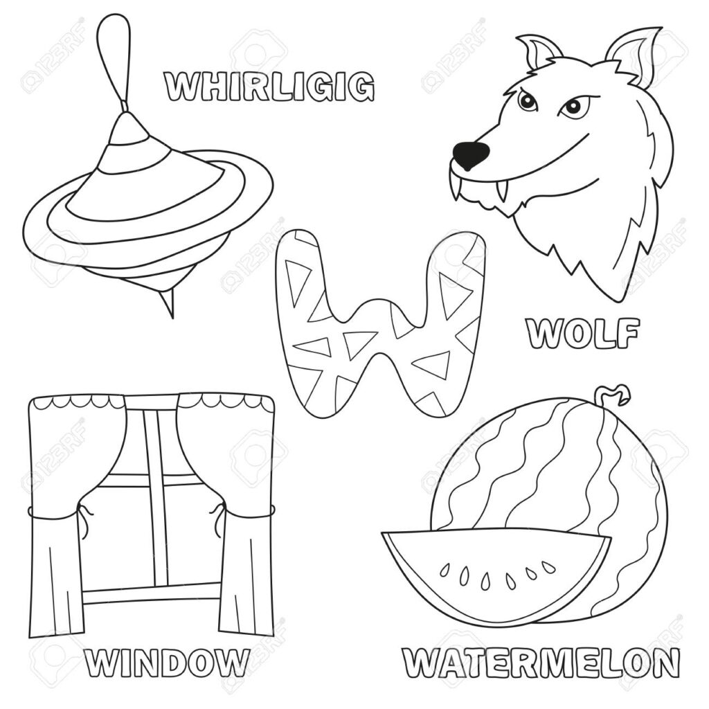Black And White Cartoon Vector Illustration Of Letter W Worksheet.. With Regard To Letter W Worksheets For Preschool