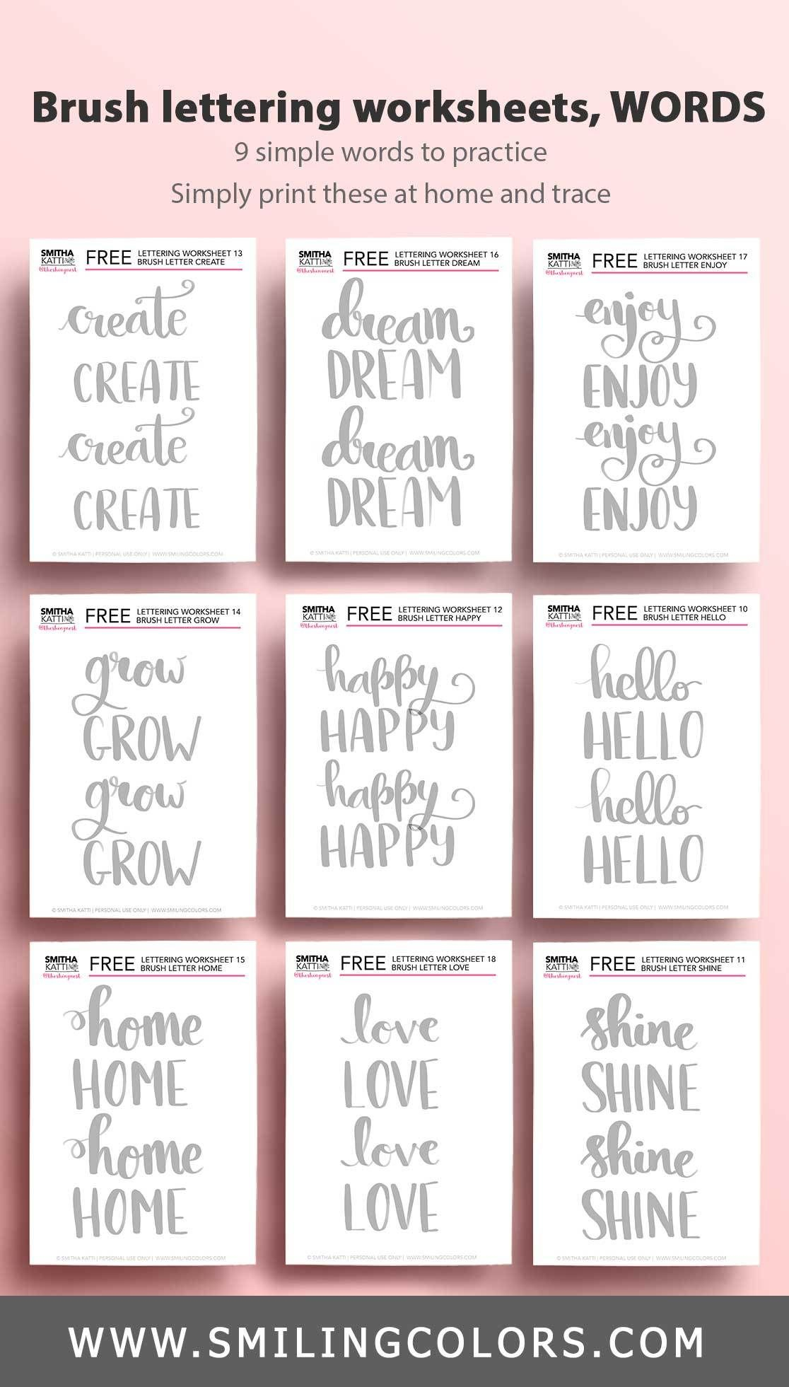 Brush Lettering Worksheets- 9 Words To Practice! | To The in Letter 9 Worksheets