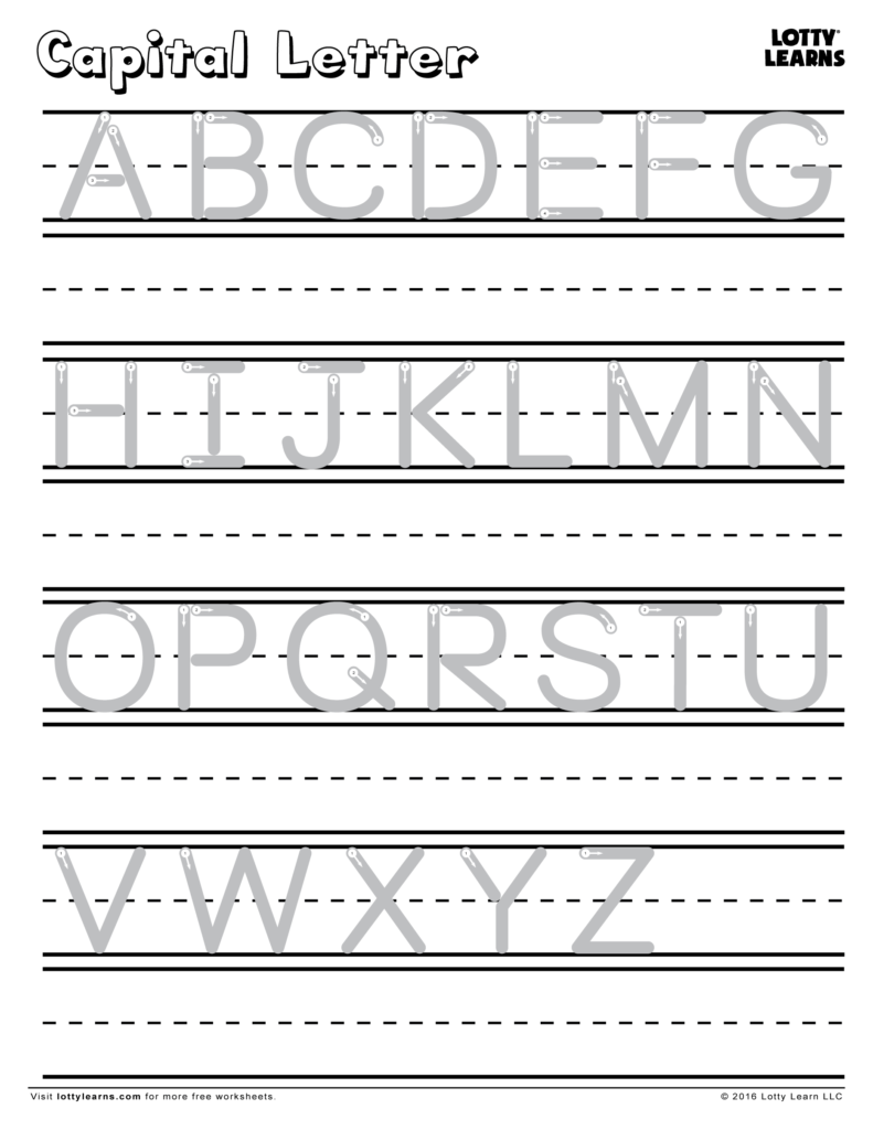 Capital Letter A Z | Lotty Learns | Capital Letters In Alphabet Handwriting Worksheets A To Z