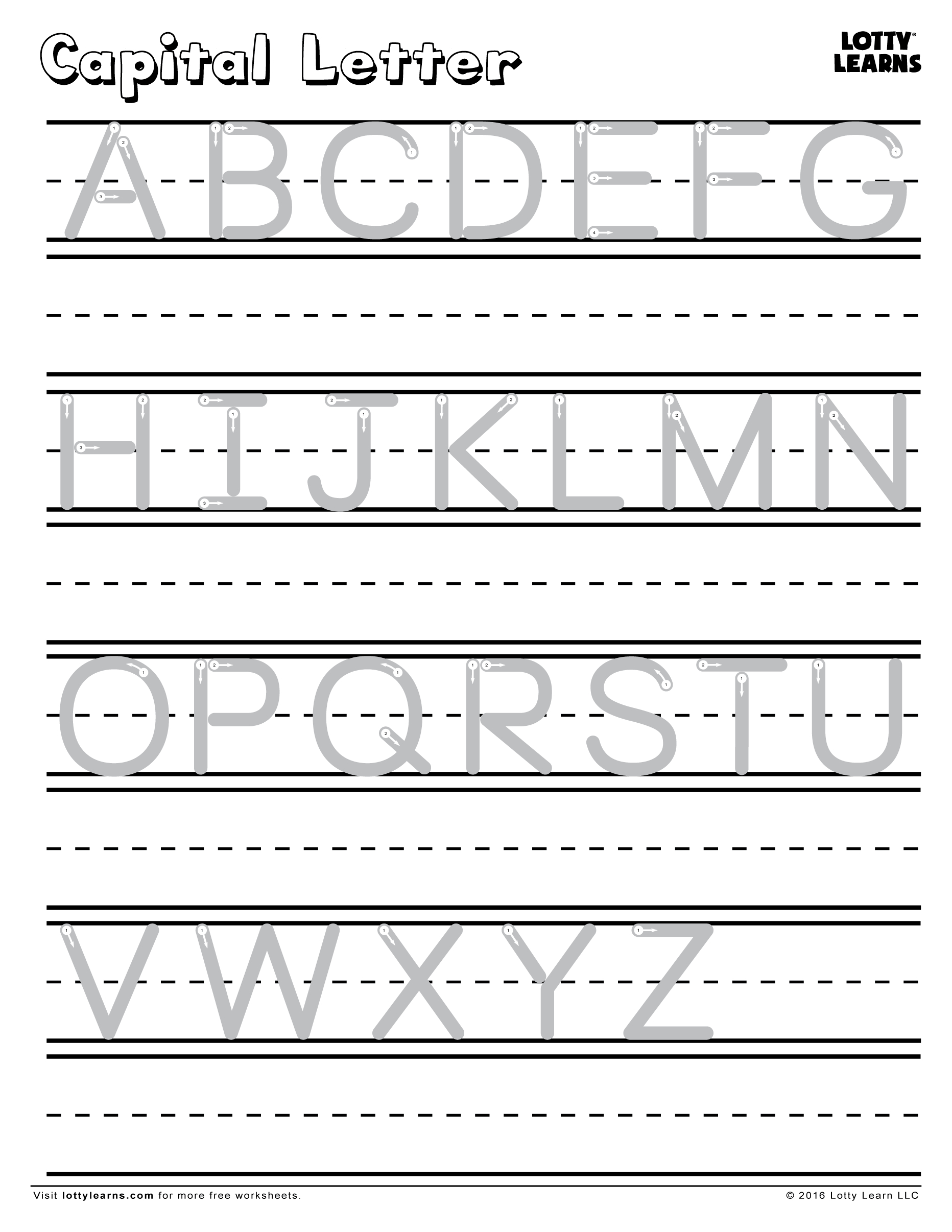 Capital Letter A-Z | Lotty Learns | Capital Letters in Alphabet Handwriting Worksheets A To Z