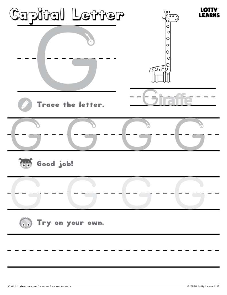 Capital Letter G | Lotty Learns | Handwriting Worksheets With Regard To Letter G Worksheets Pdf