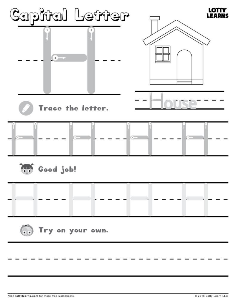 Capital Letter H | Lotty Learns | Letter H Worksheets In Letter H Worksheets Free Printables
