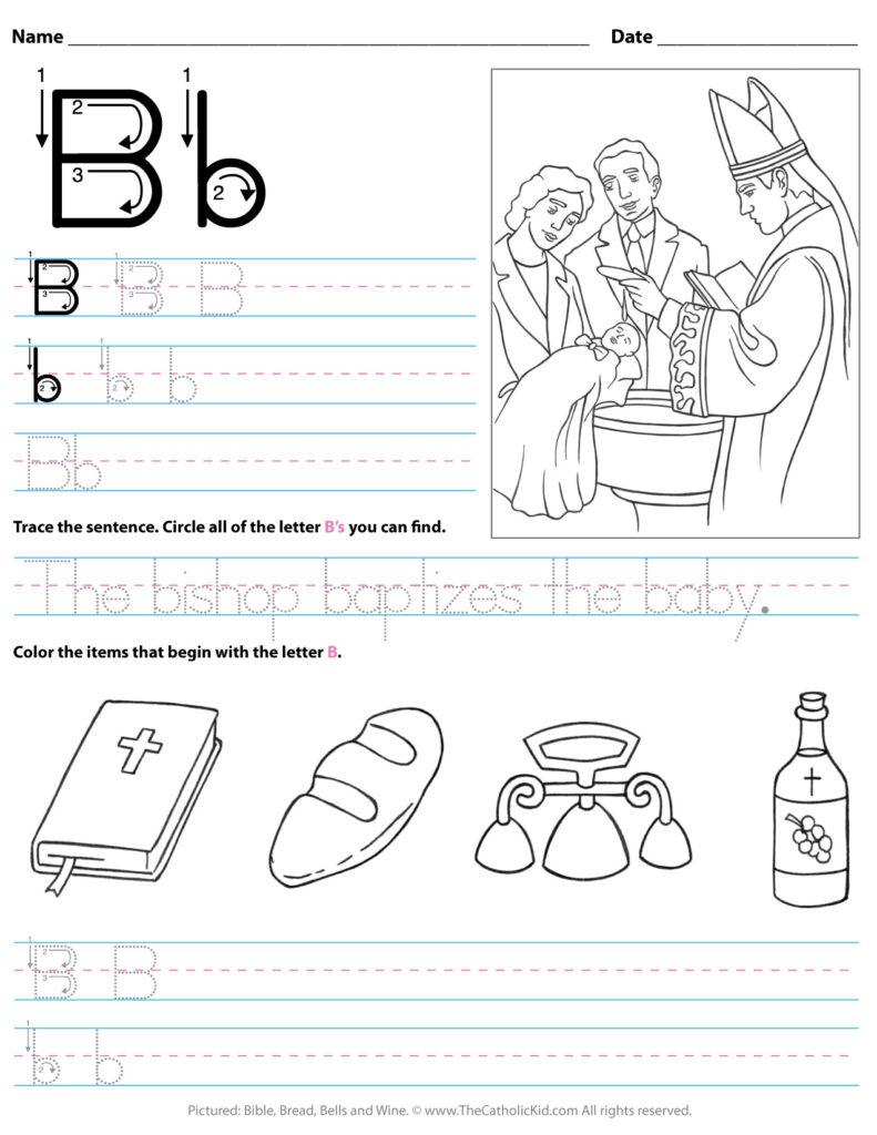 Catholic Alphabet Letter B Worksheet Preschool Kindergarten With Letter B Worksheets For Preschool