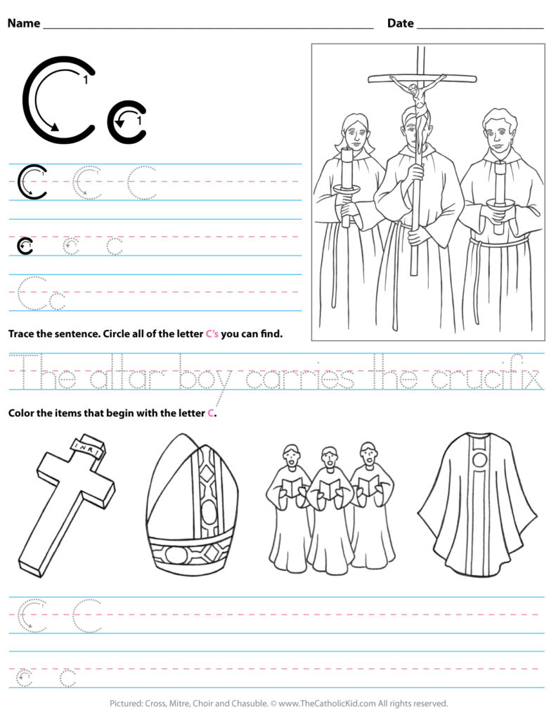 Catholic Alphabet Letter C Worksheet Preschool Kindergarten In A Letter Worksheets Kindergarten