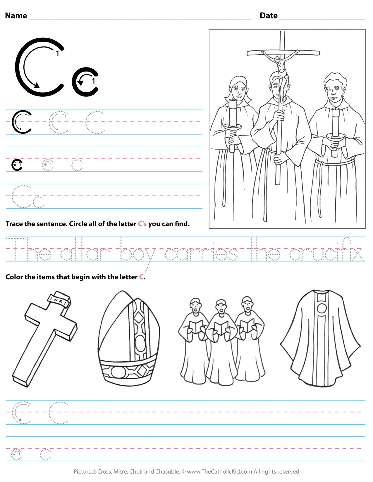Catholic Alphabet Letter C Worksheet Preschool Kindergarten in Letter Worksheets Kindergarten