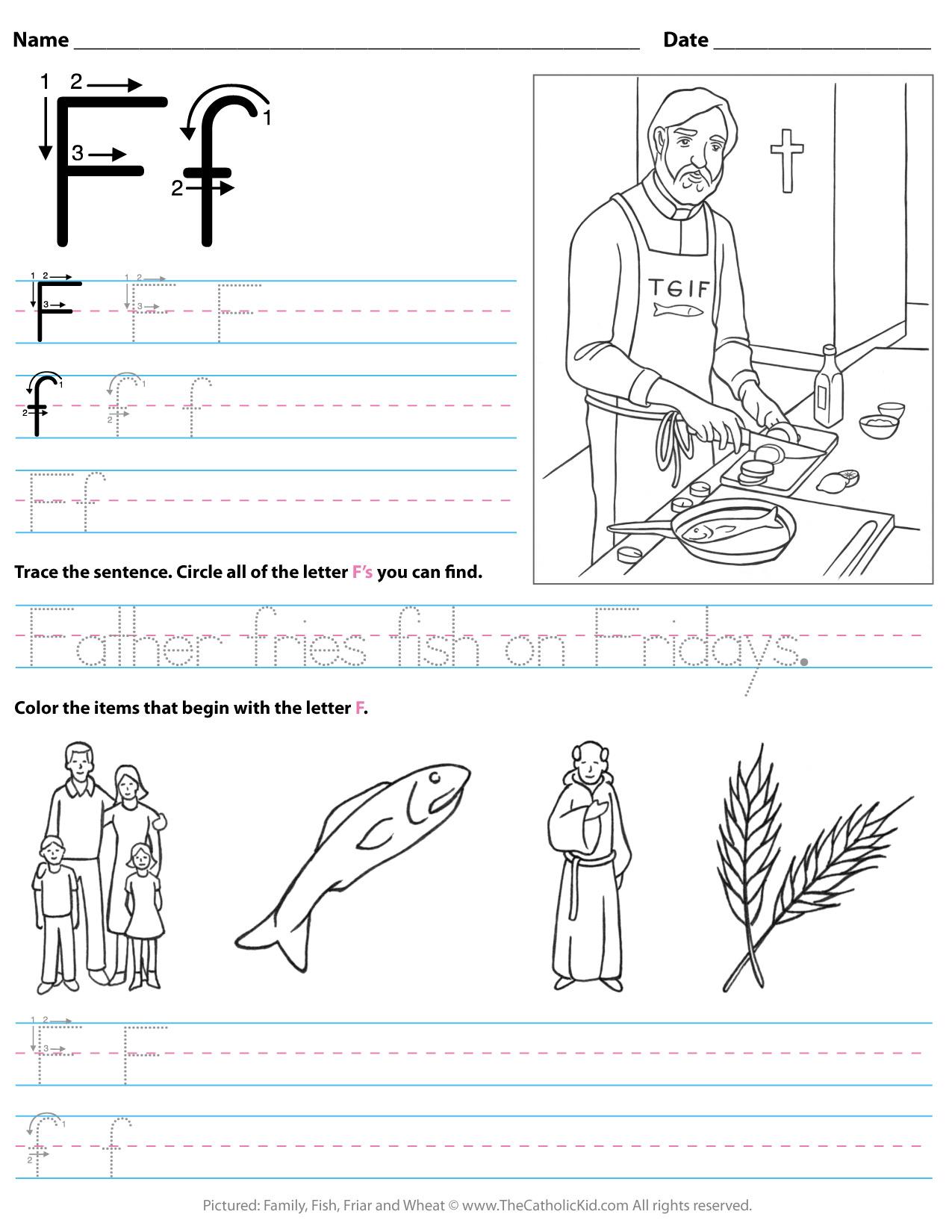 Catholic Alphabet Letter F Worksheet Preschool Kindergarten inside F Letter Worksheets Preschool
