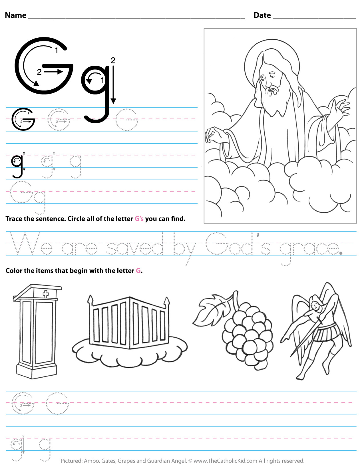 Catholic Alphabet Letter G Worksheet Preschool Kindergarten throughout Letter G Worksheets For Kinder