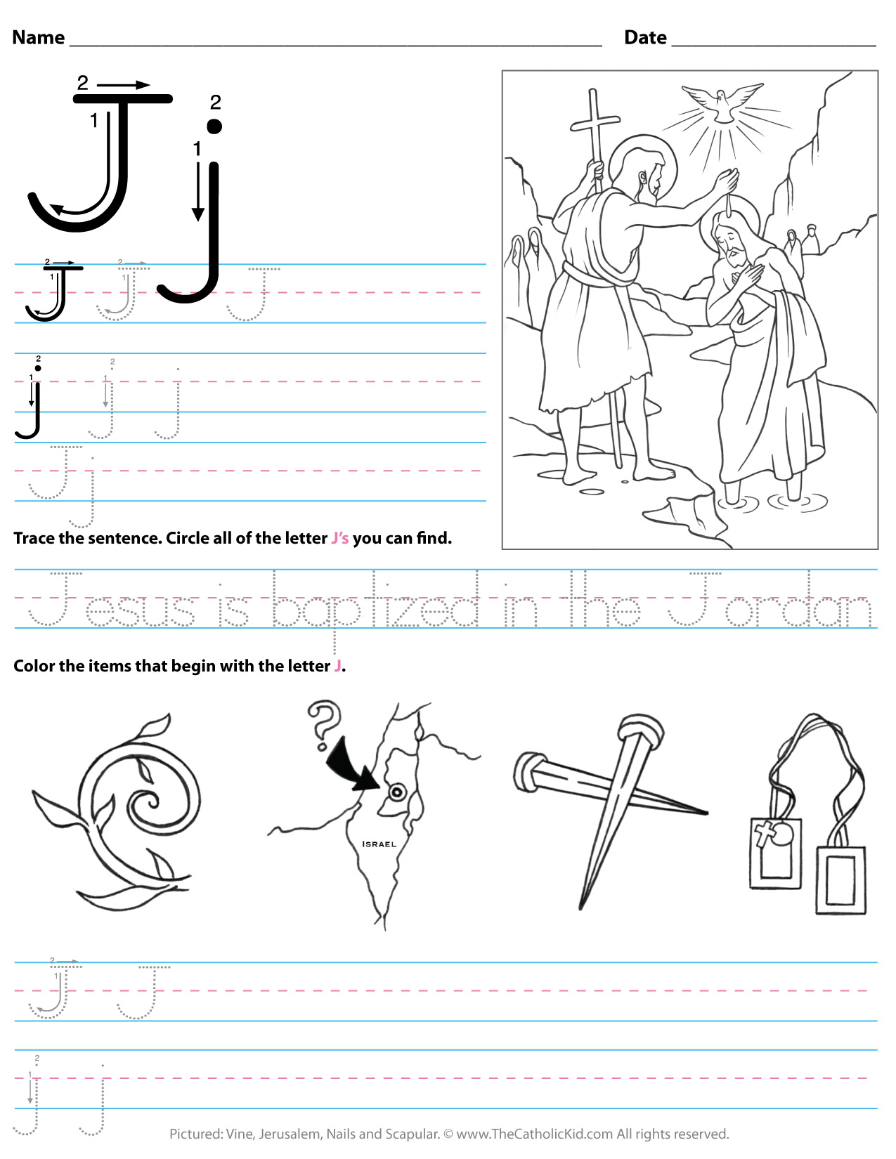 Catholic Alphabet Letter J Worksheet Preschool Kindergarten in J Letter Worksheets