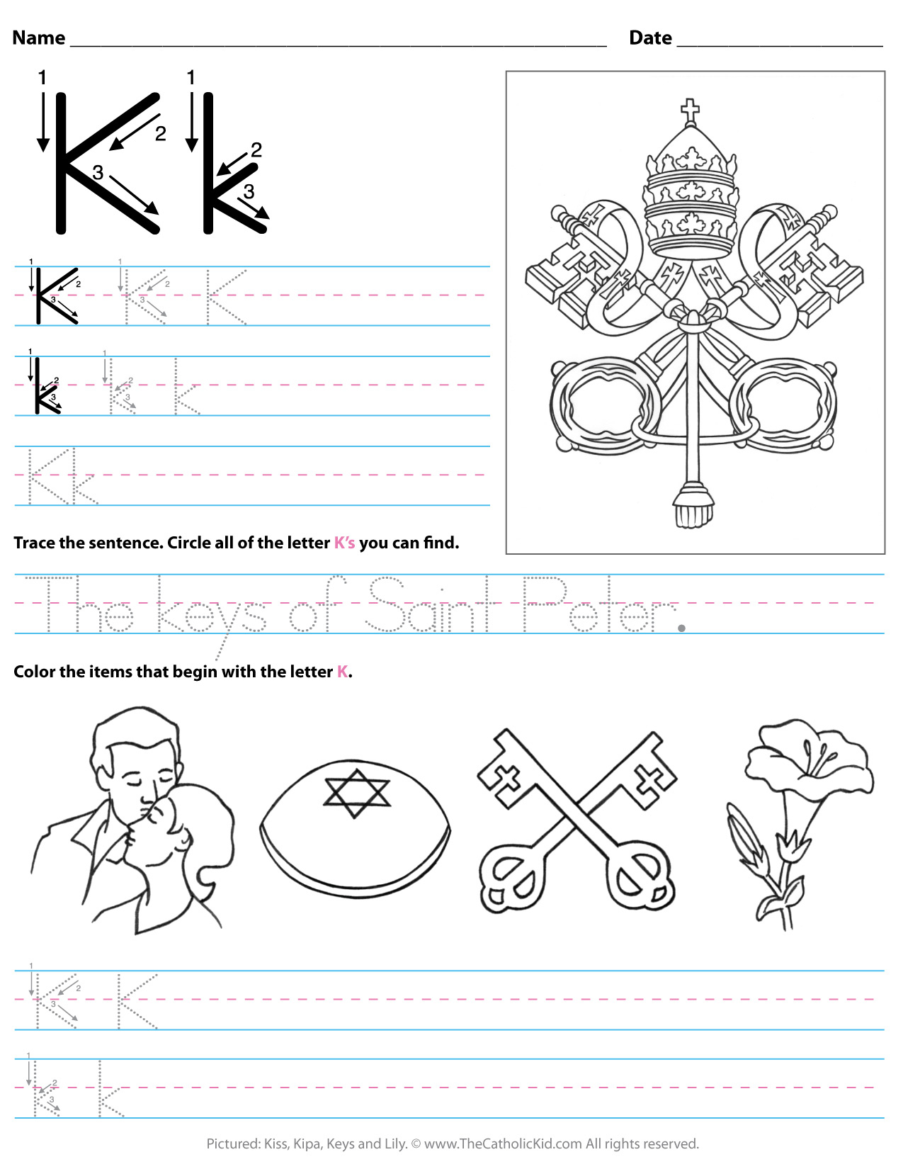 Catholic Alphabet Letter K Worksheet Preschool Kindergarten for Letter K Worksheets For Preschool