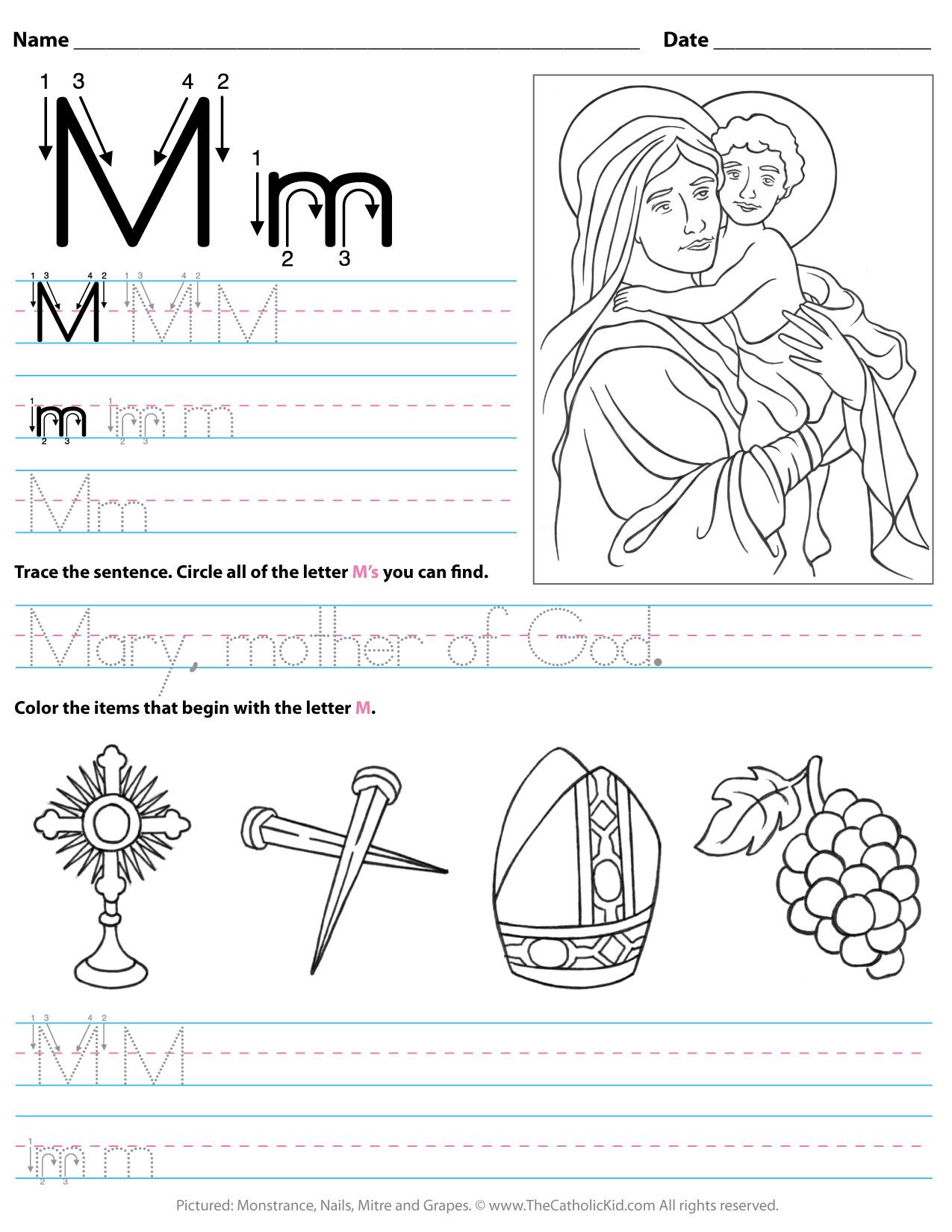 Catholic Alphabet Letter M Worksheet Preschool Kindergarten within Letter M Worksheets For Kinder