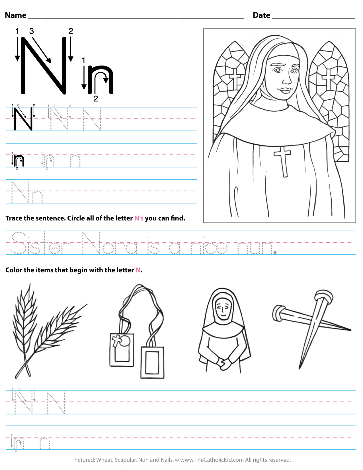 Catholic Alphabet Letter N Worksheet Preschool Kindergarten with Letter N Worksheets For Kindergarten