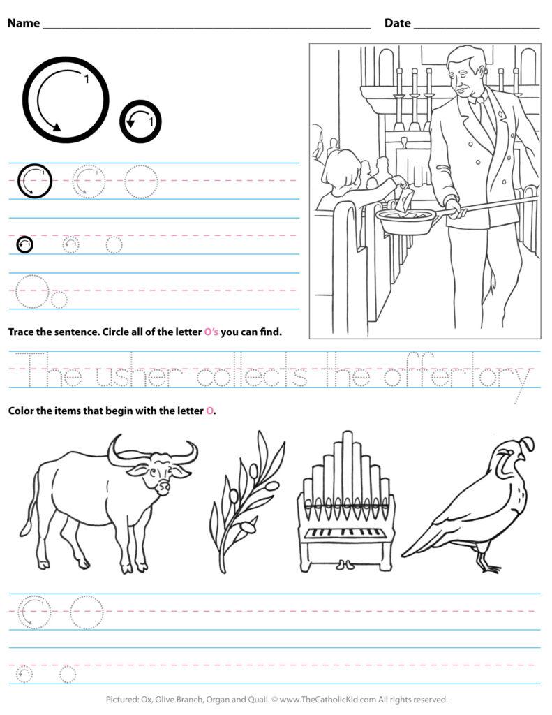 Catholic Alphabet Letter O Worksheet Preschool Kindergarten   Pertaining To Letter O Worksheets For Kindergarten
