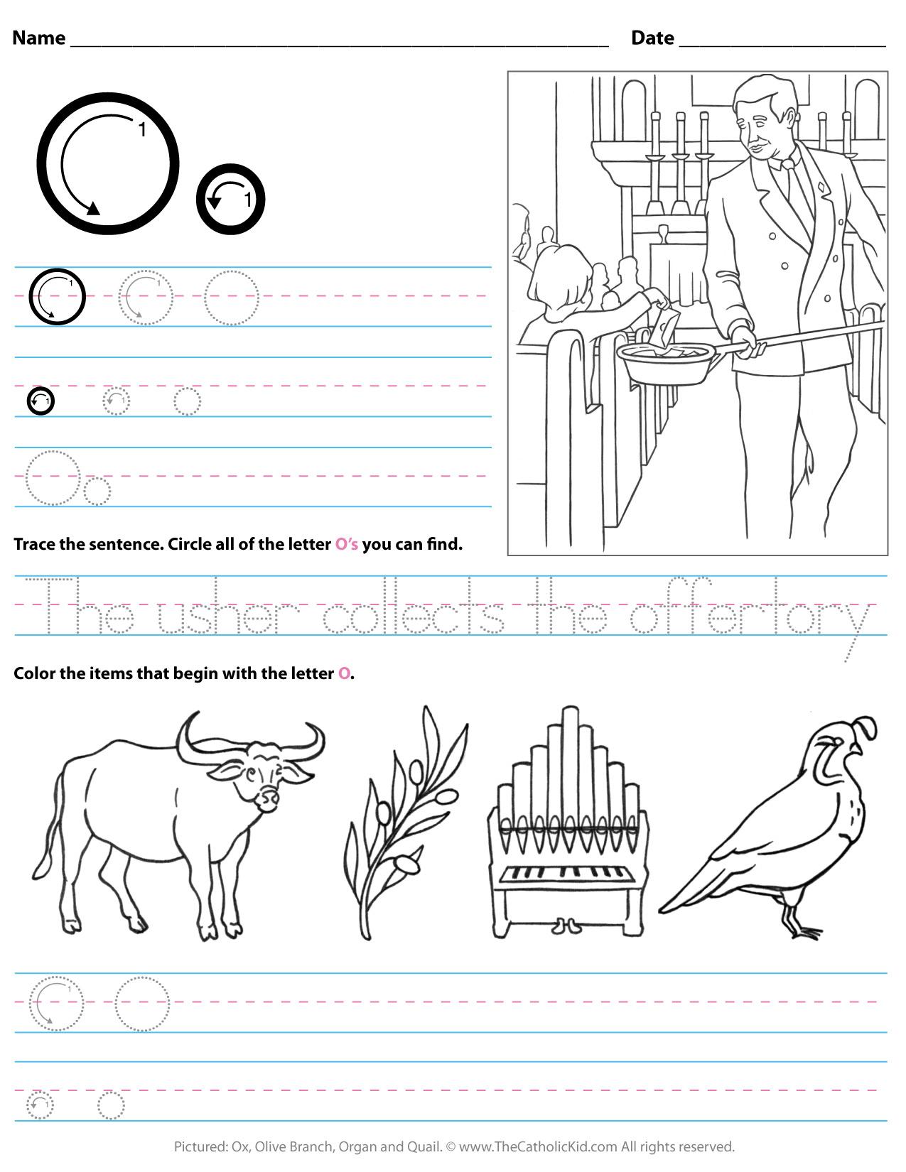 Catholic Alphabet Letter O Worksheet Preschool Kindergarten - pertaining to Letter O Worksheets For Kindergarten