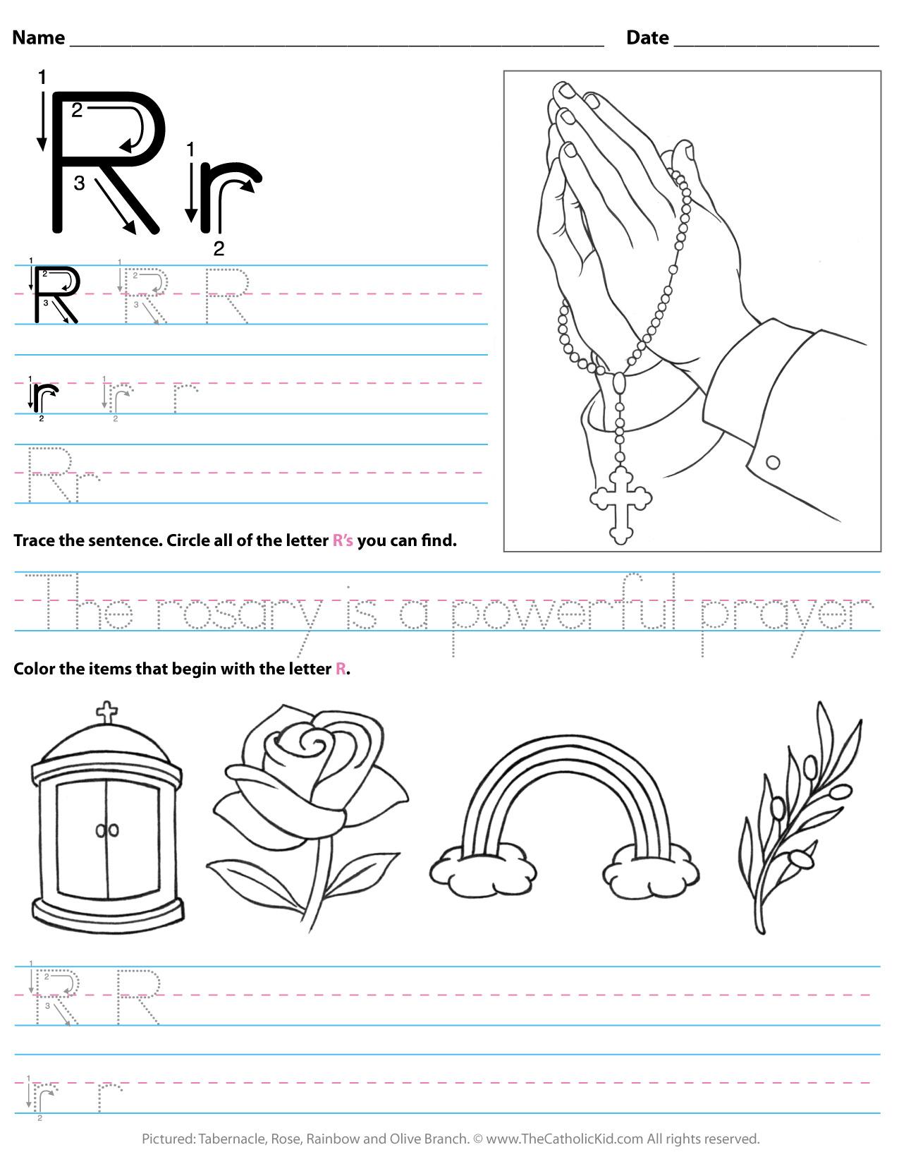 Catholic Alphabet Letter R Worksheet Preschool Kindergarten with regard to Letter R Worksheets