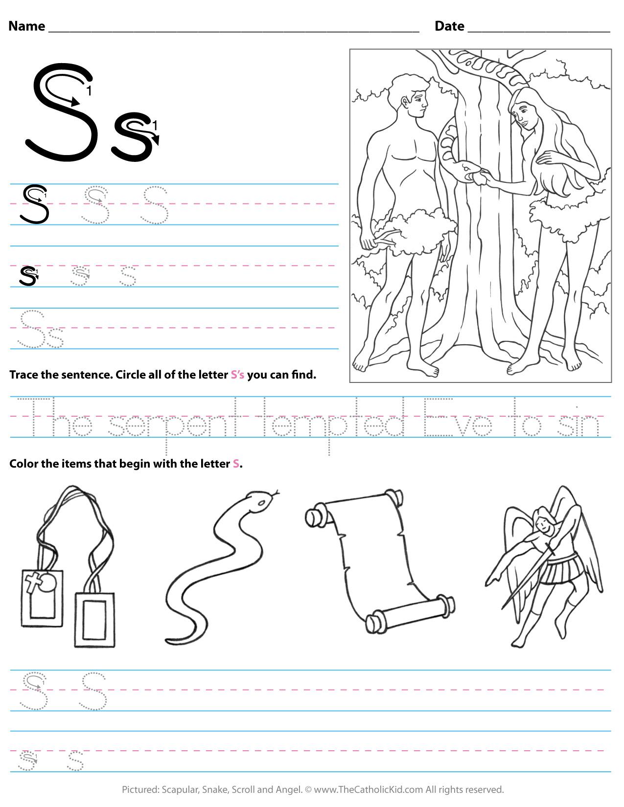 Catholic Alphabet Letter S Worksheet Preschool Kindergarten intended for A Letter Worksheets Kindergarten
