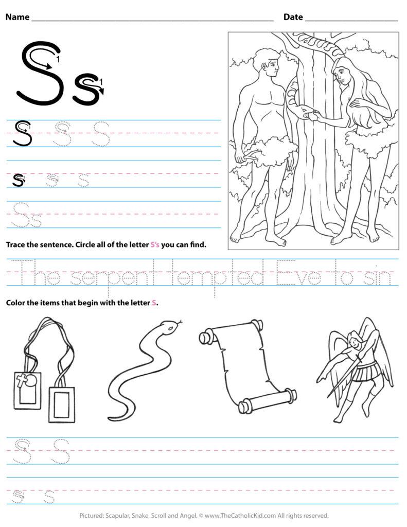 Catholic Alphabet Letter S Worksheet Preschool Kindergarten Pertaining To Letter S Worksheets For Kindergarten