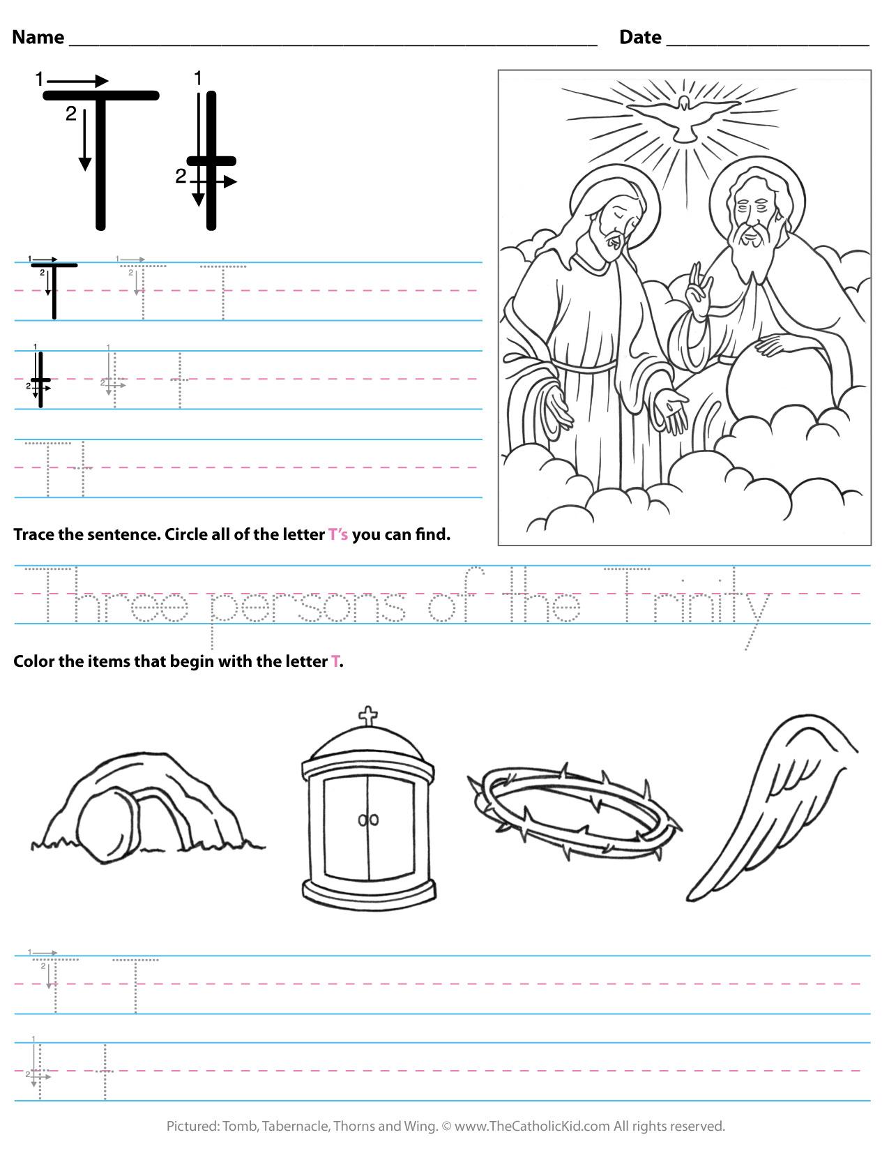 Catholic Alphabet Letter T Worksheet Preschool Kindergarten regarding Letter T Worksheets Prek