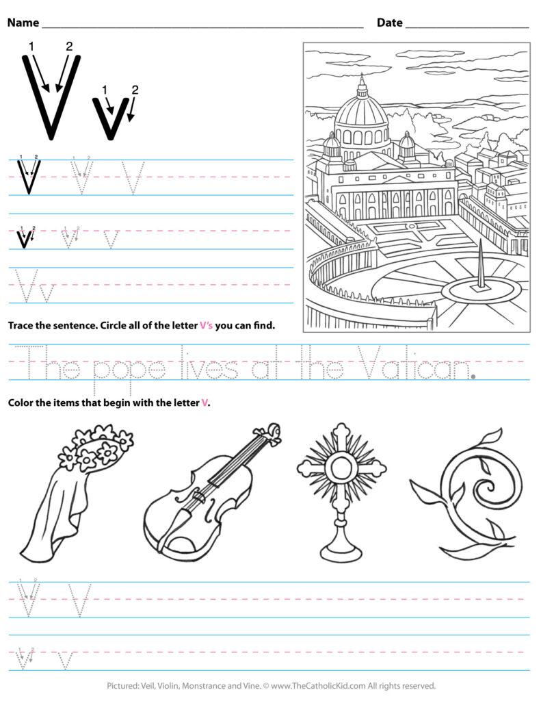 Catholic Alphabet Letter V Worksheet Preschool Kindergarten Within Letter V Worksheets For Kindergarten