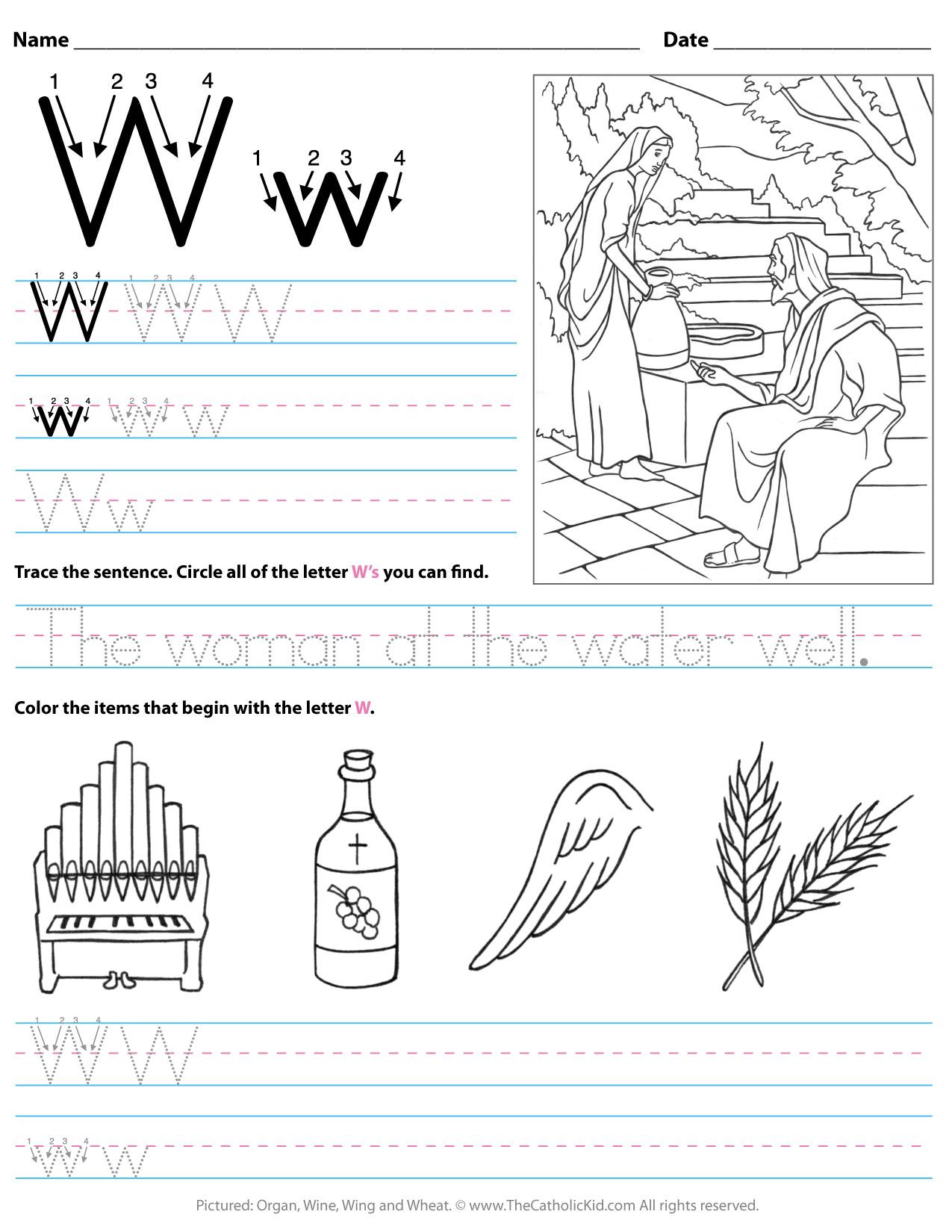 Catholic Alphabet Letter W Worksheet Preschool Kindergarten intended for Letter N Worksheets For Pre K