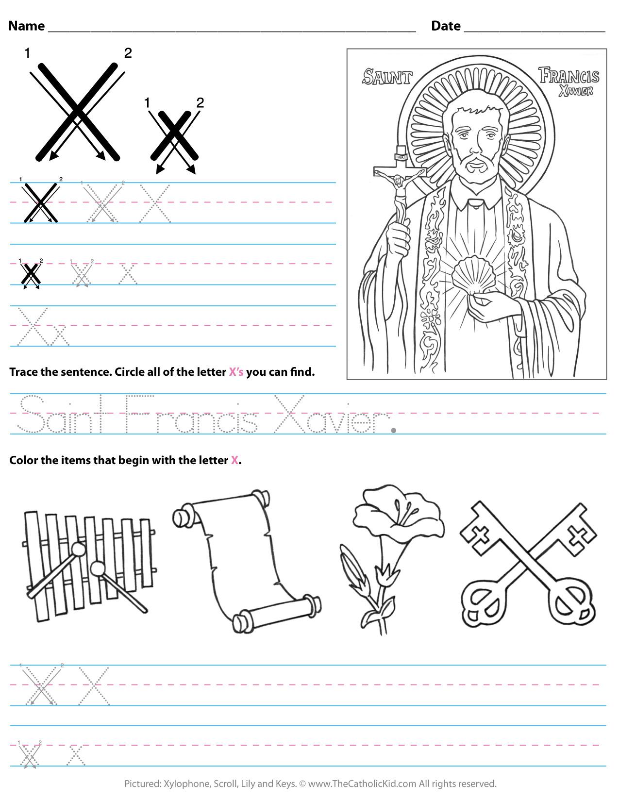 Catholic Alphabet Letter X Worksheet Preschool Kindergarten pertaining to Letter X Worksheets