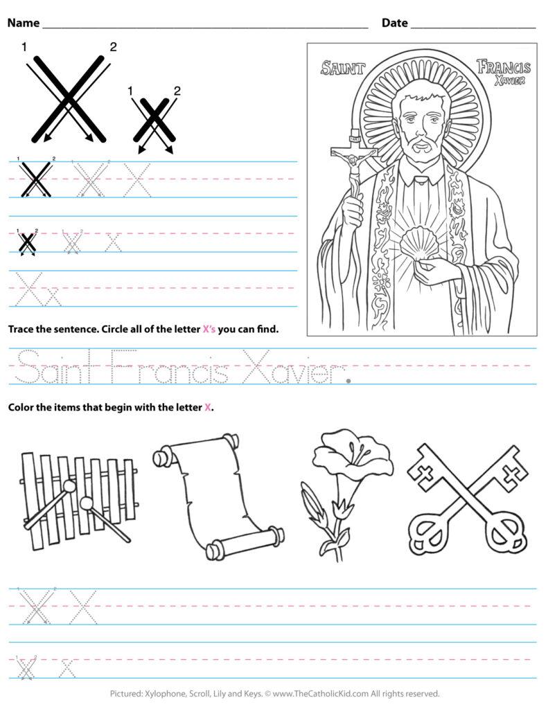 Catholic Alphabet Letter X Worksheet Preschool Kindergarten Within Letter X Worksheets For Kindergarten