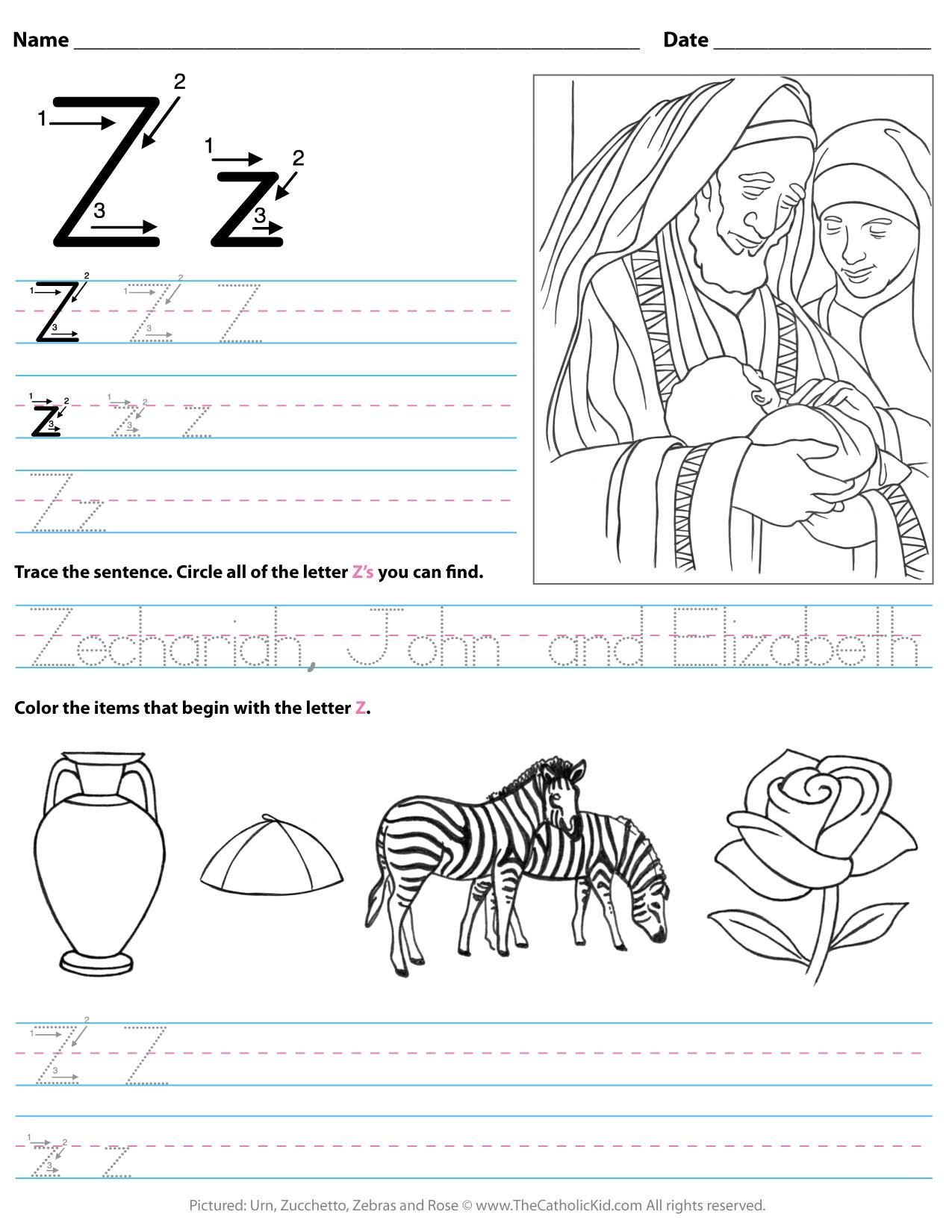 Catholic Alphabet Letter Z Worksheet Preschool Kindergarten with Letter Z Worksheets For Kindergarten