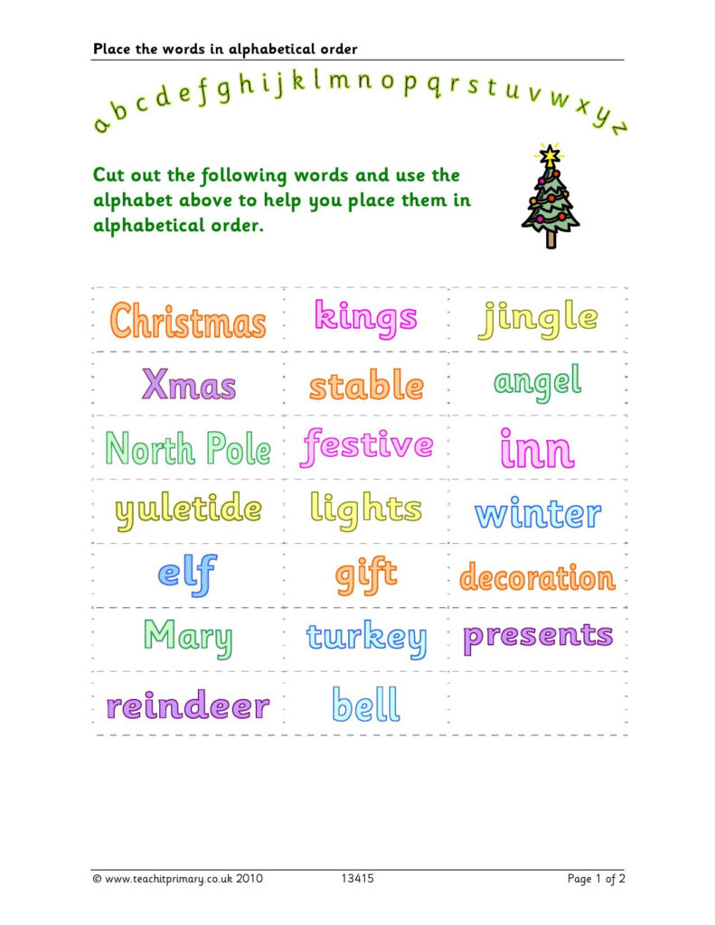 Christmas Alphabetical Ordering With Regard To Alphabet Ordering Worksheets Ks1