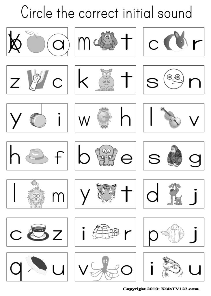 Circe The Correct Beginning Sounds From Kidstv123 Inside Alphabet Sounds Worksheets Esl