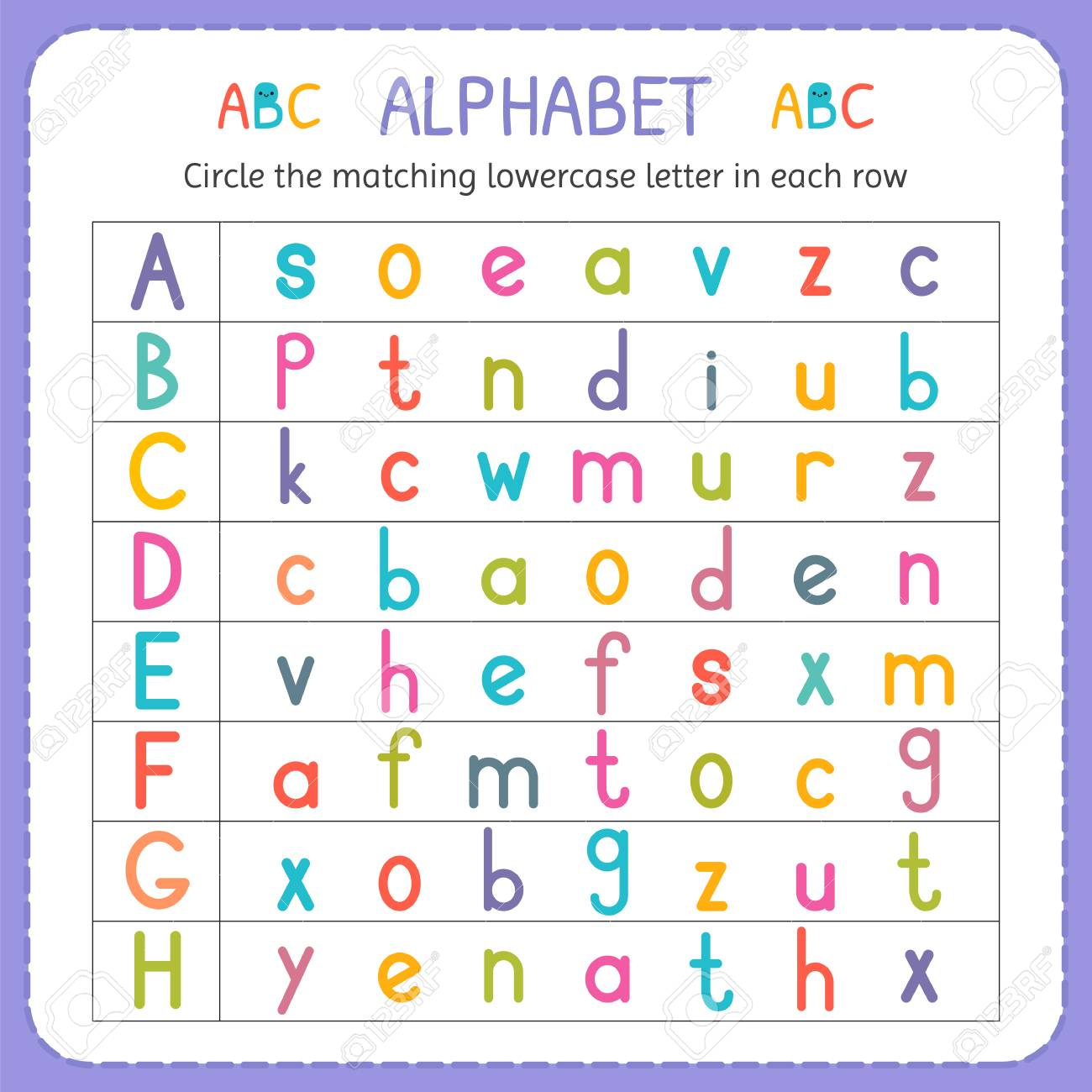 Circle The Matching Lowercase Letter In Each Row. From A To H with Lowercase Alphabet Worksheets