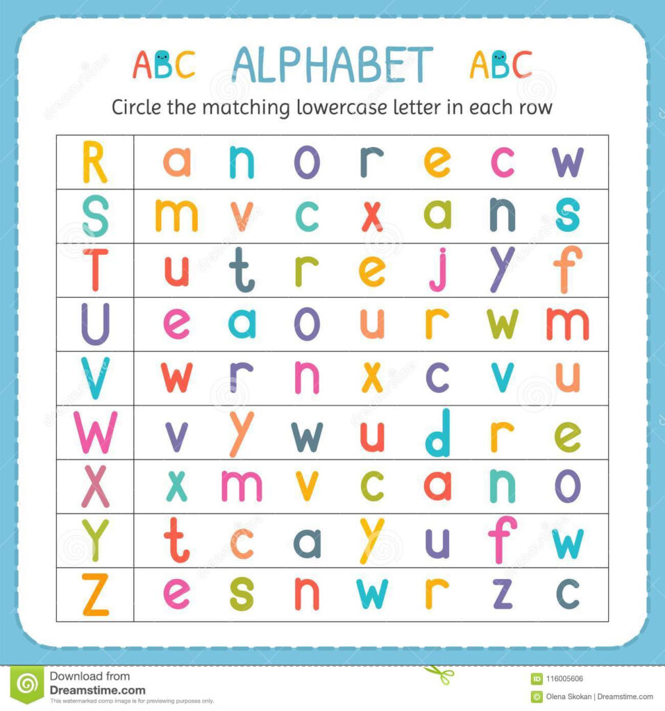 Circle The Matching Lowercase Letter In Each Row. From R To For Alphabet Matching Worksheets For Nursery