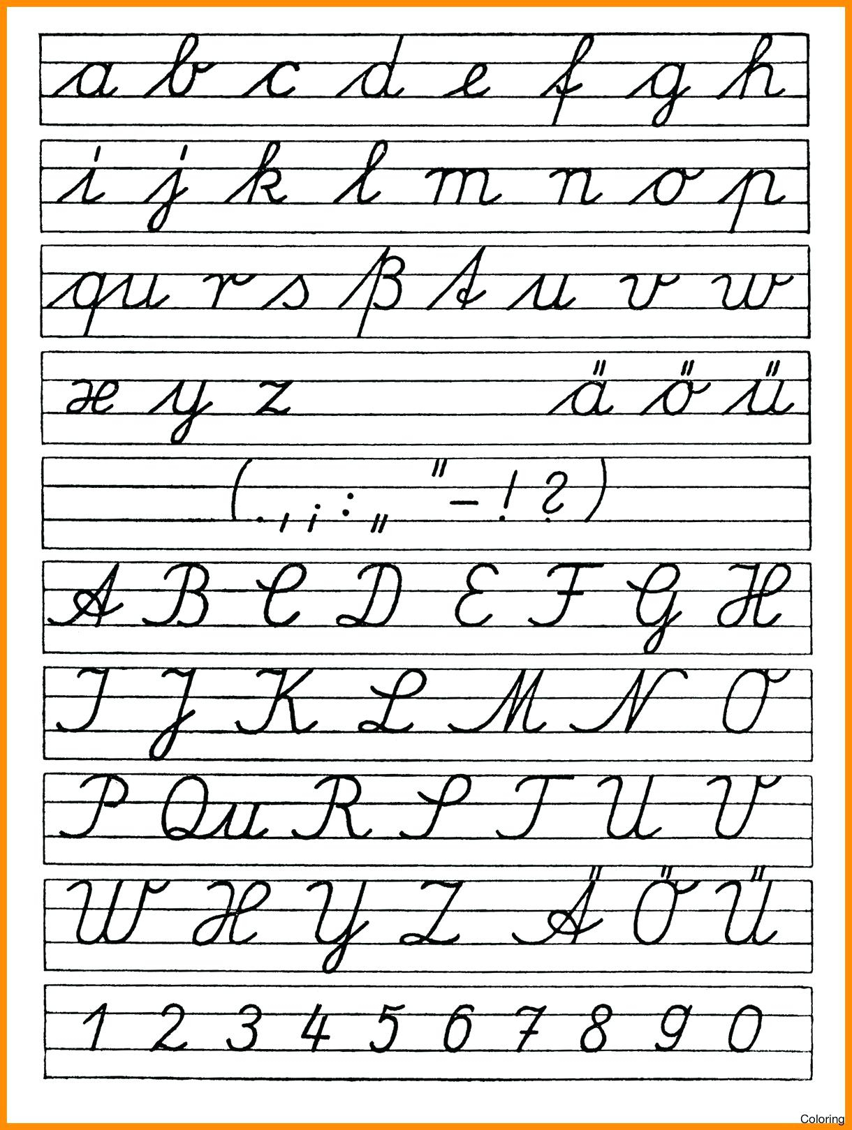 Coloring Book : Coloring Book Free Printable Cursives Chart in Alphabet Handwriting Worksheets A To Z Printable
