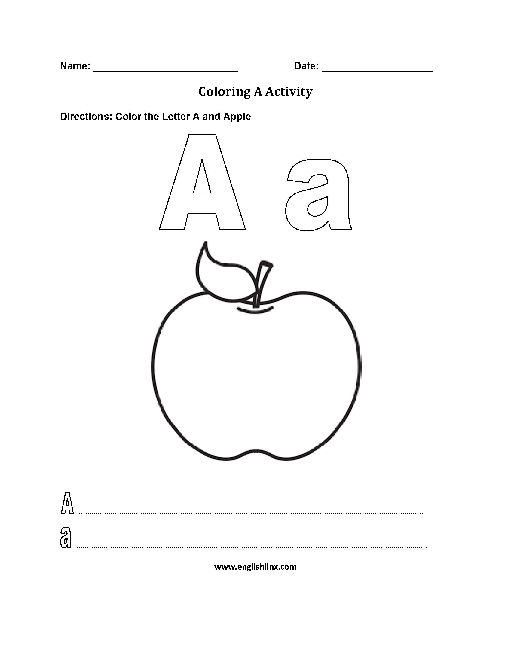 Coloring ~ Coloring Worksheet Alphabet Worksheets Pages inside Alphabet Activity Worksheets