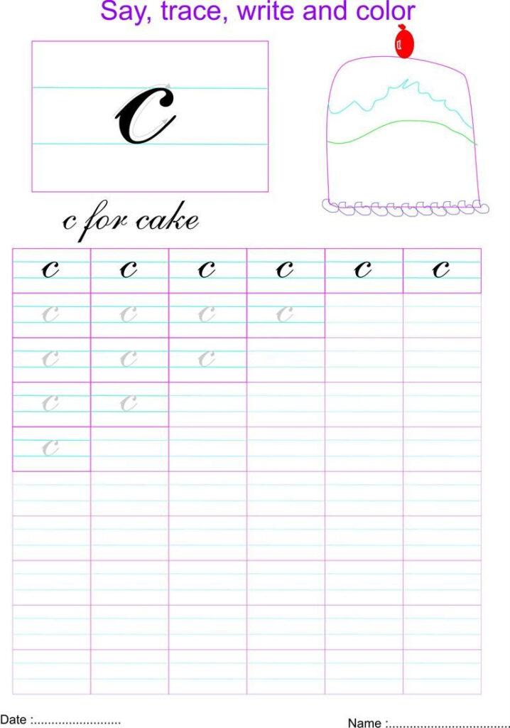 Cursive Small Letter 'c' Worksheet | Cursive Small Letters Throughout Letter C Worksheets Sparklebox