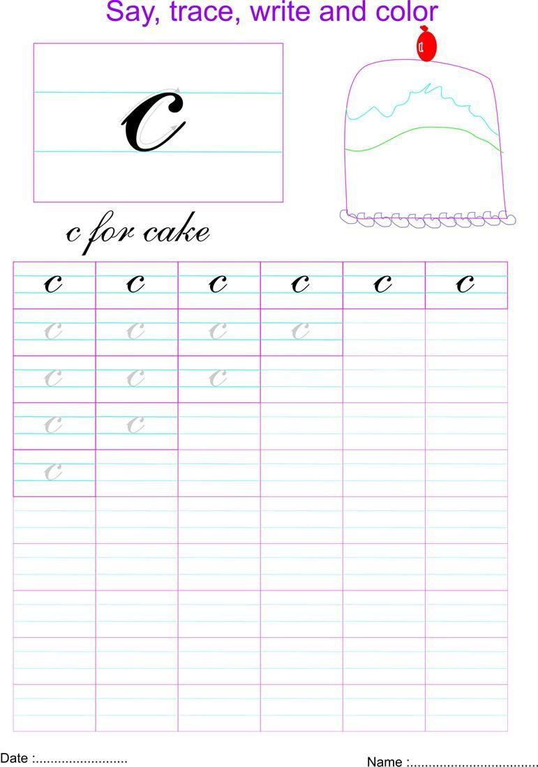 Cursive Small Letter 'c' Worksheet | Cursive Small Letters with regard to Letter V Worksheets Sparklebox