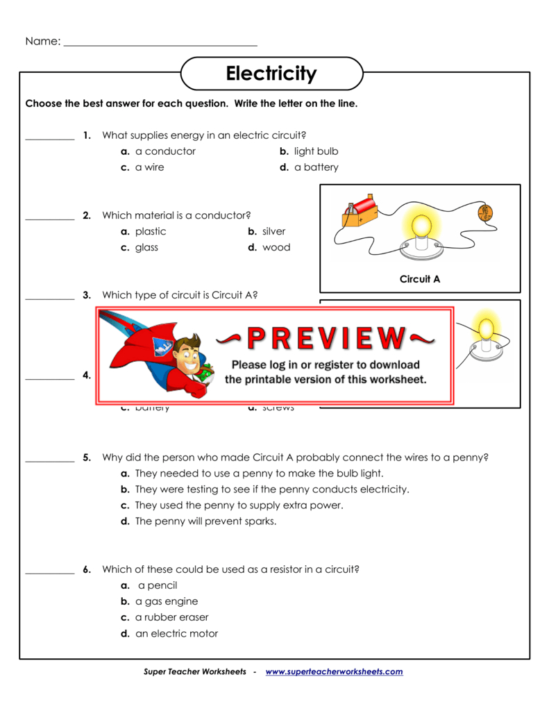 Electricity - Super Teacher Worksheets with Letter C Worksheets Super Teacher