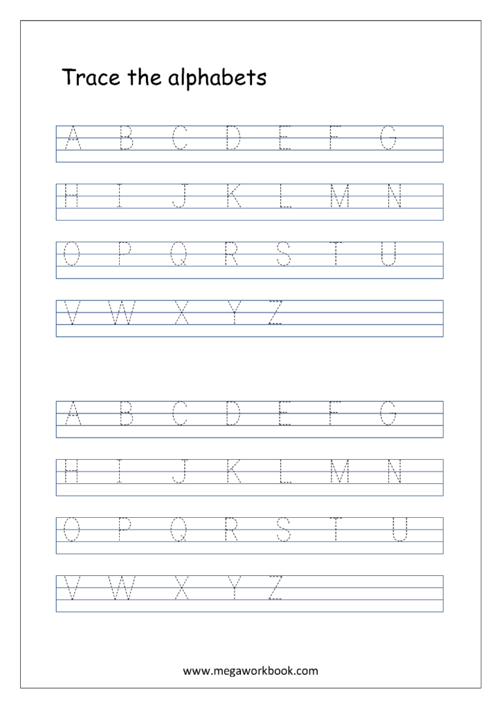 English Worksheet   Alphabet Tracing In 4 Lines   Capital For Alphabet Handwriting Worksheets A To Z For Preschool To First Grade