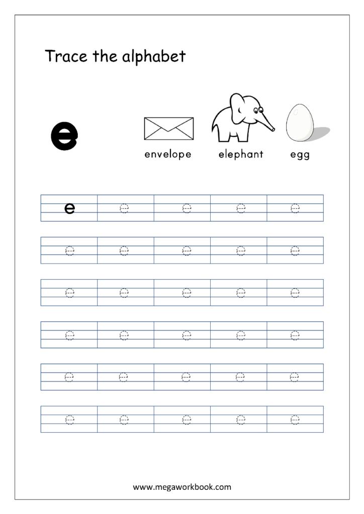 English Worksheet   Alphabet Tracing   Small Letter E Inside Letter E Worksheets Free