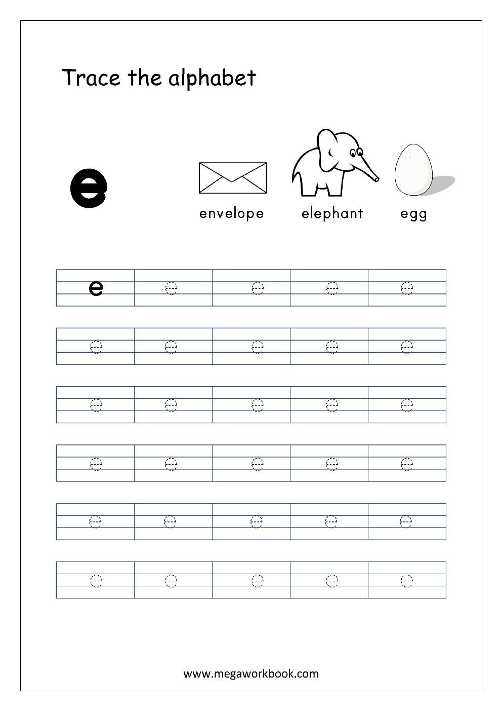 English Worksheet - Alphabet Tracing - Small Letter E intended for Letter E Alphabet Worksheets